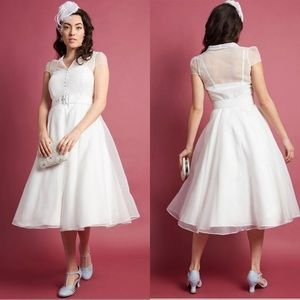 ModCloth White Button Front Midi Fit &Flare Dress